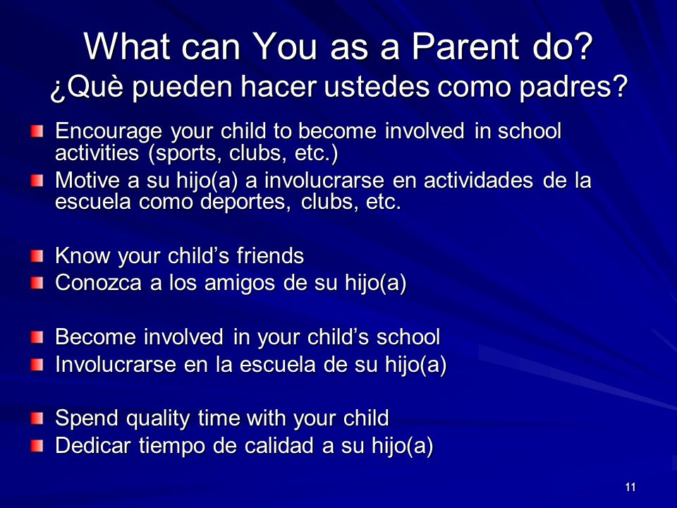 What can You as a Parent do ¿Què pueden hacer ustedes como padres