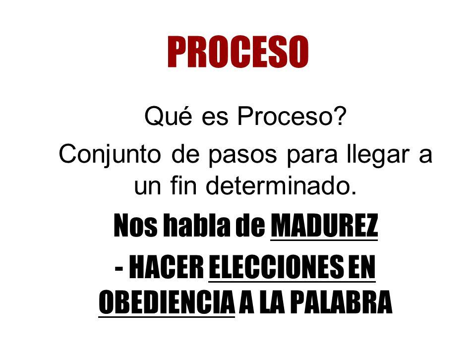 PROCESO Nos habla de MADUREZ