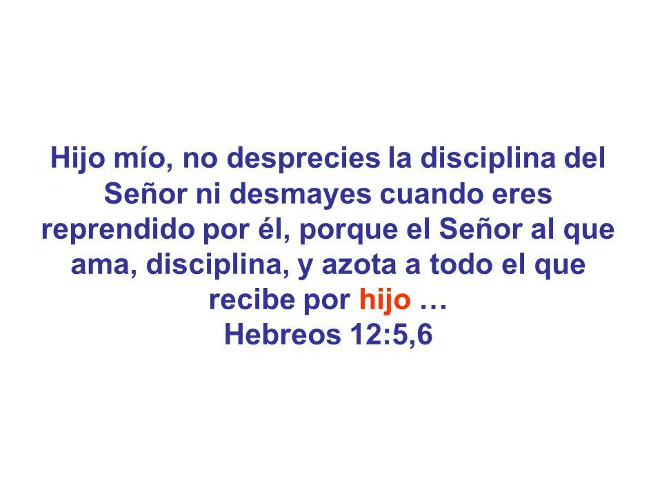 Hijo mío, no desprecies la disciplina del Señor ni desmayes cuando eres reprendido por él, porque el Señor al que ama, disciplina, y azota a todo el que recibe por hijo …