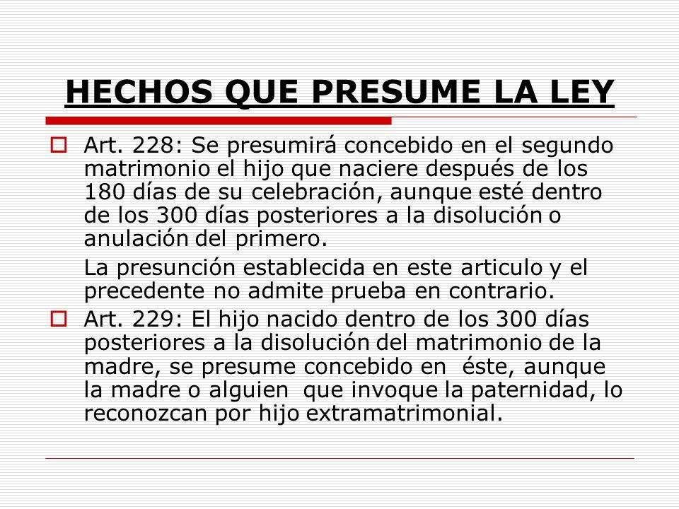 HECHOS QUE PRESUME LA LEY