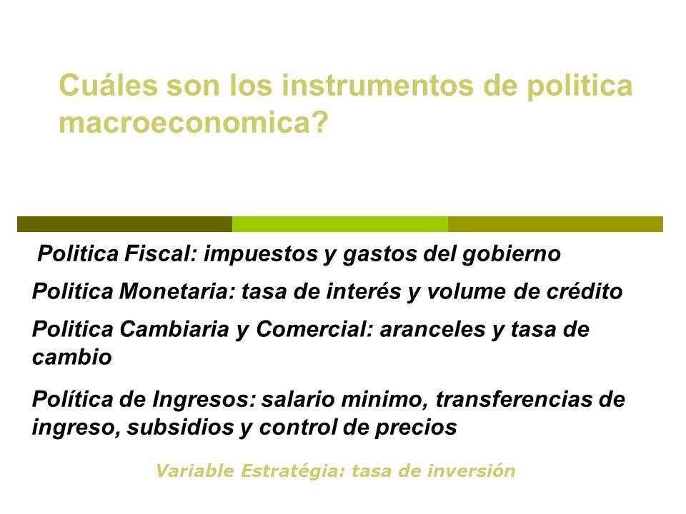 Cuáles son los instrumentos de politica macroeconomica