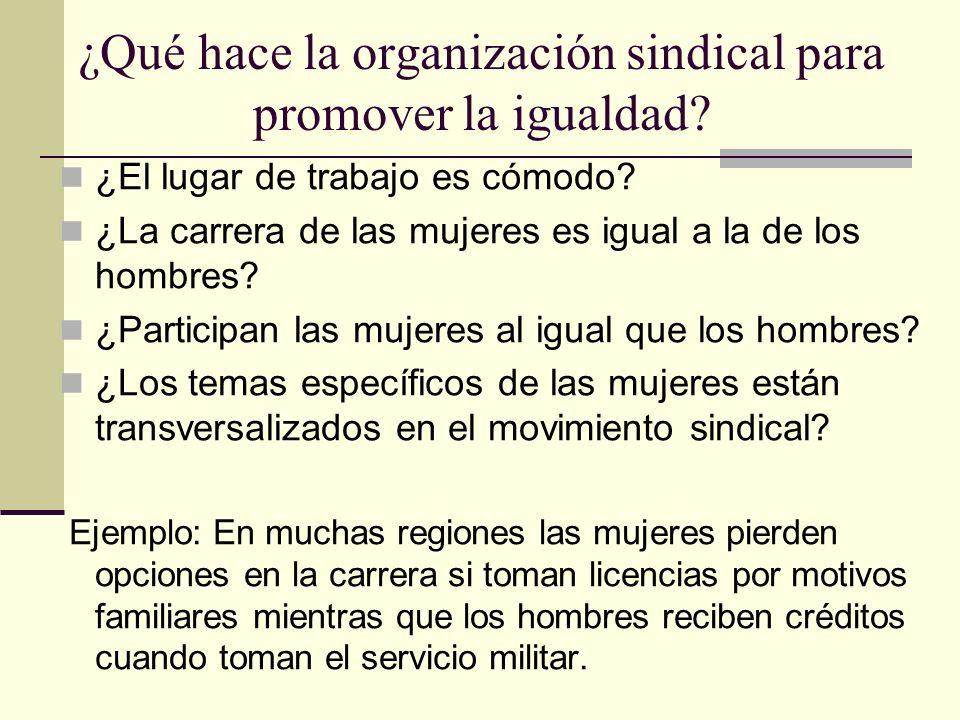 ¿Qué hace la organización sindical para promover la igualdad