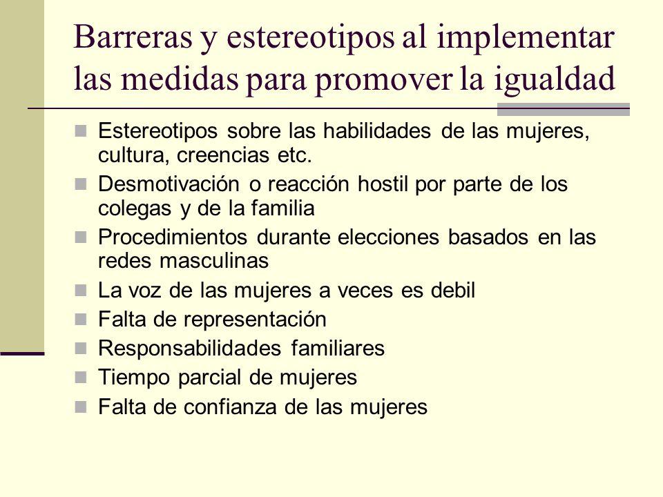 Barreras y estereotipos al implementar las medidas para promover la igualdad