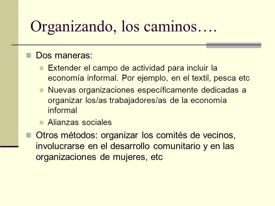 Organizando, los caminos….