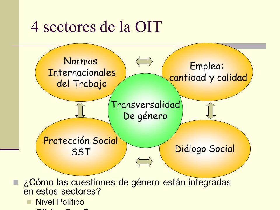4 sectores de la OIT Normas Empleo: Internacionales cantidad y calidad