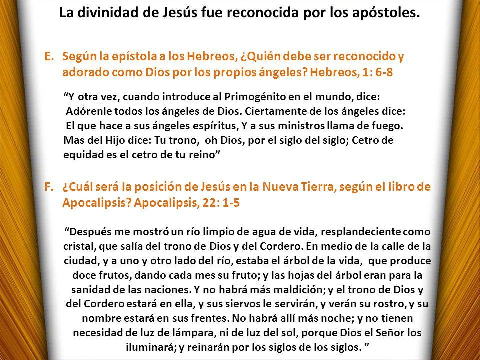 La divinidad de Jesús fue reconocida por los apóstoles.