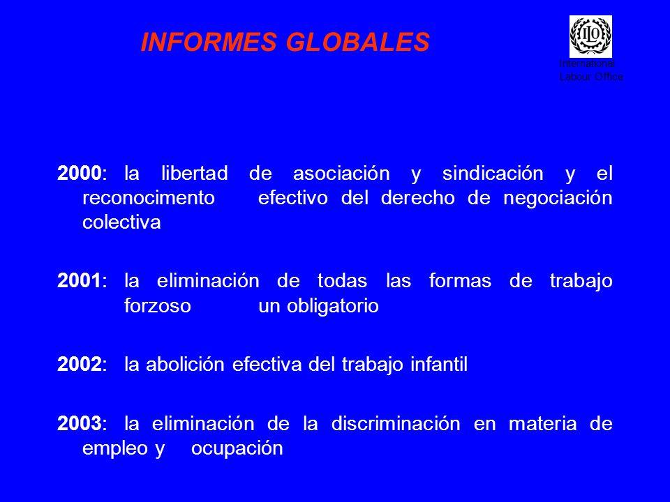 INFORMES GLOBALES 2000: la libertad de asociación y sindicación y el reconocimento efectivo del derecho de negociación colectiva.