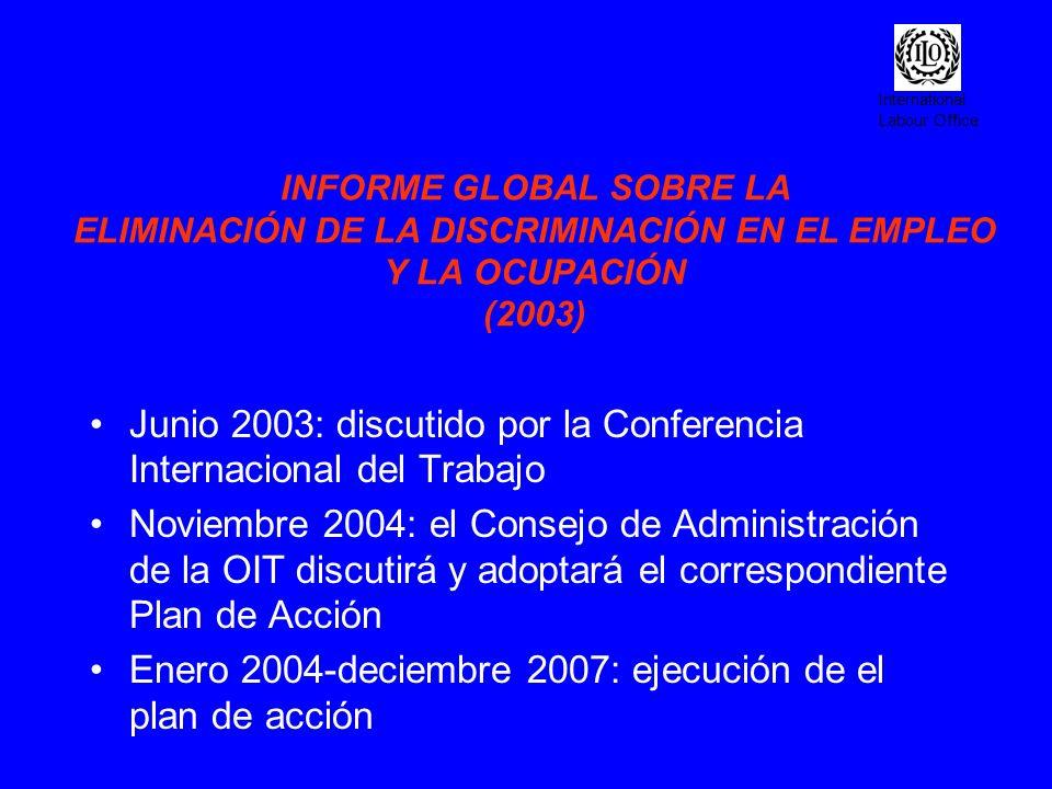Junio 2003: discutido por la Conferencia Internacional del Trabajo