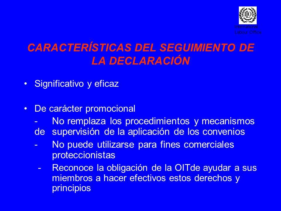CARACTERÍSTICAS DEL SEGUIMIENTO DE LA DECLARACIÓN
