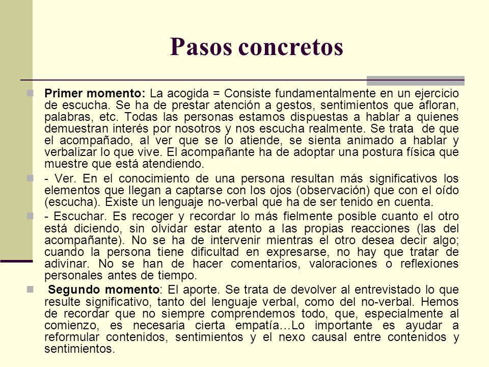 Pasos concretos