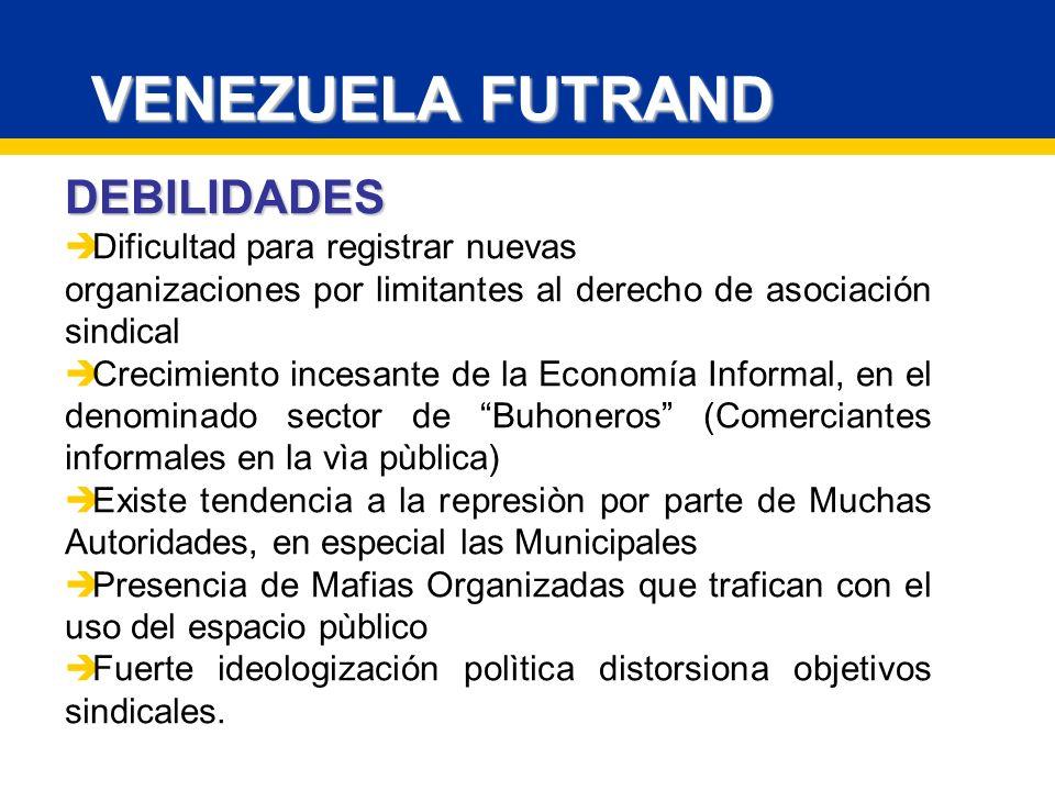 VENEZUELA FUTRAND DEBILIDADES Dificultad para registrar nuevas