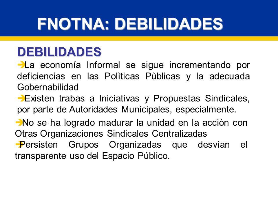 FNOTNA: DEBILIDADES DEBILIDADES