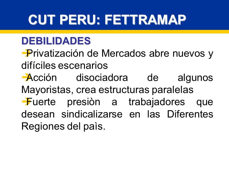 CUT PERU: FETTRAMAP DEBILIDADES