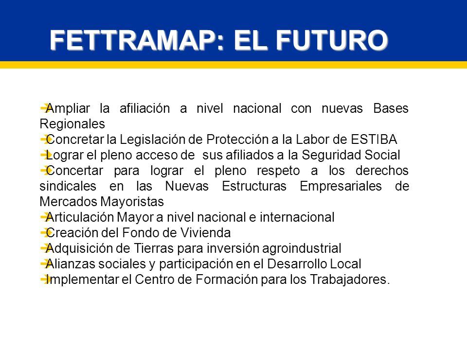 FETTRAMAP: EL FUTURO Ampliar la afiliación a nivel nacional con nuevas Bases Regionales. Concretar la Legislación de Protección a la Labor de ESTIBA.