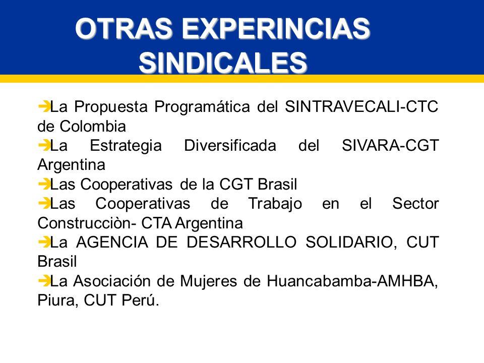 OTRAS EXPERINCIAS SINDICALES