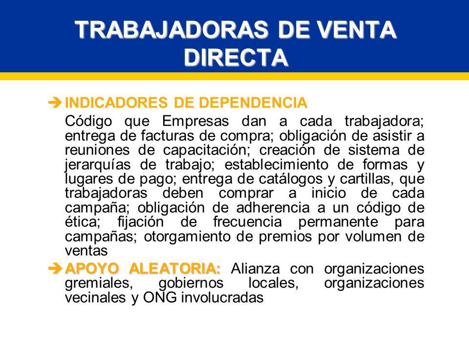 TRABAJADORAS DE VENTA DIRECTA