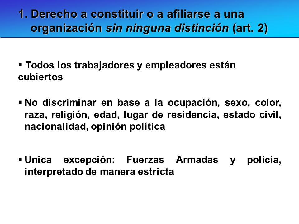 1. Derecho a constituir o a afiliarse a una organización sin ninguna distinción (art. 2)
