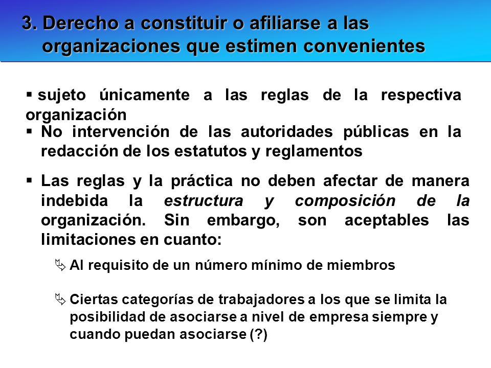3. Derecho a constituir o afiliarse a las organizaciones que estimen convenientes