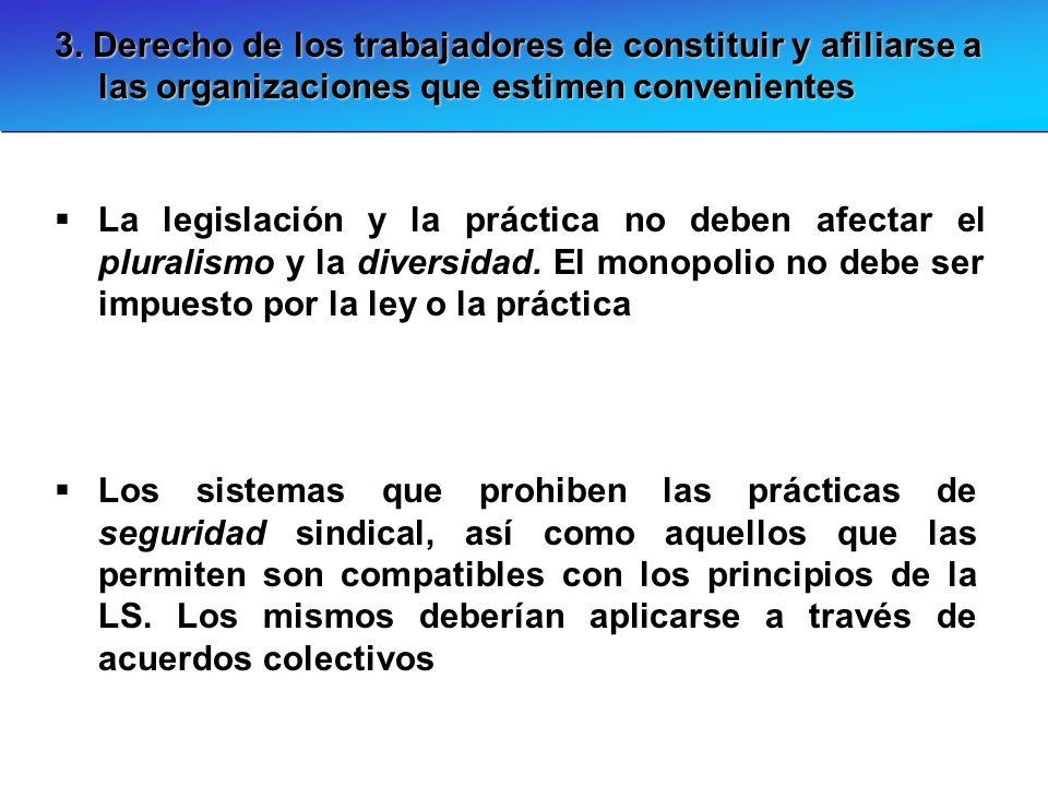3. Derecho de los trabajadores de constituir y afiliarse a las organizaciones que estimen convenientes