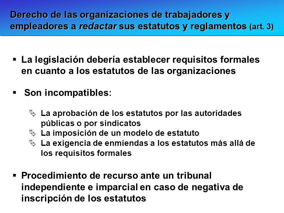 Derecho de las organizaciones de trabajadores y empleadores a redactar sus estatutos y reglamentos (art. 3)