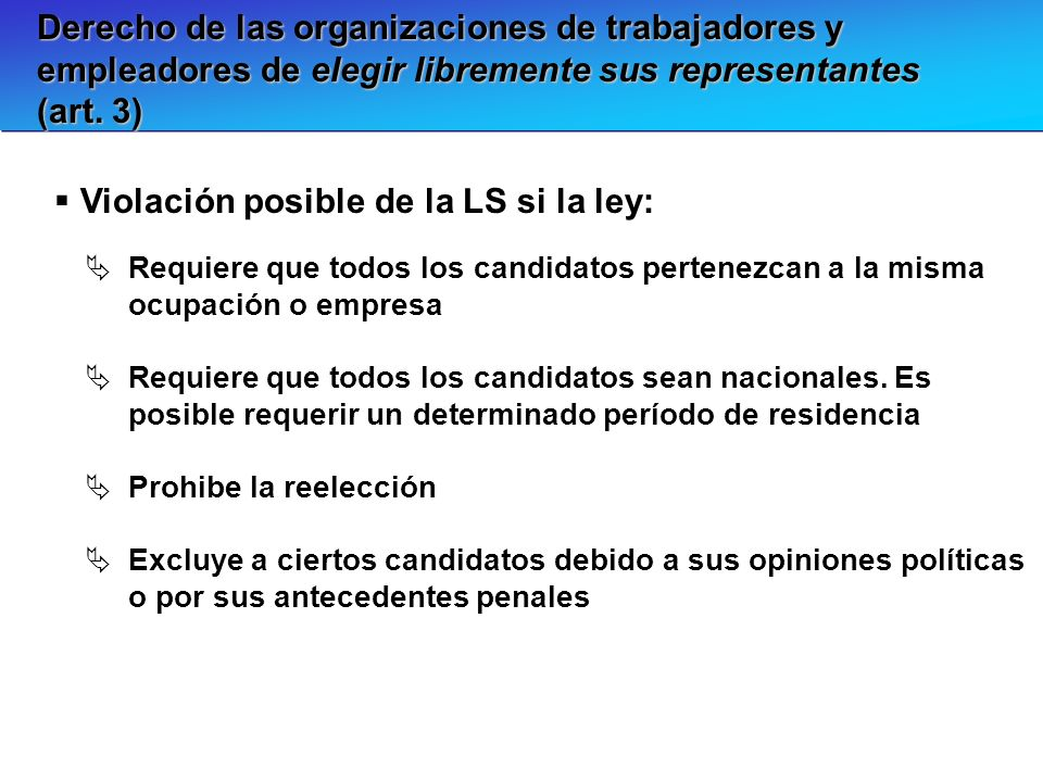 Violación posible de la LS si la ley: