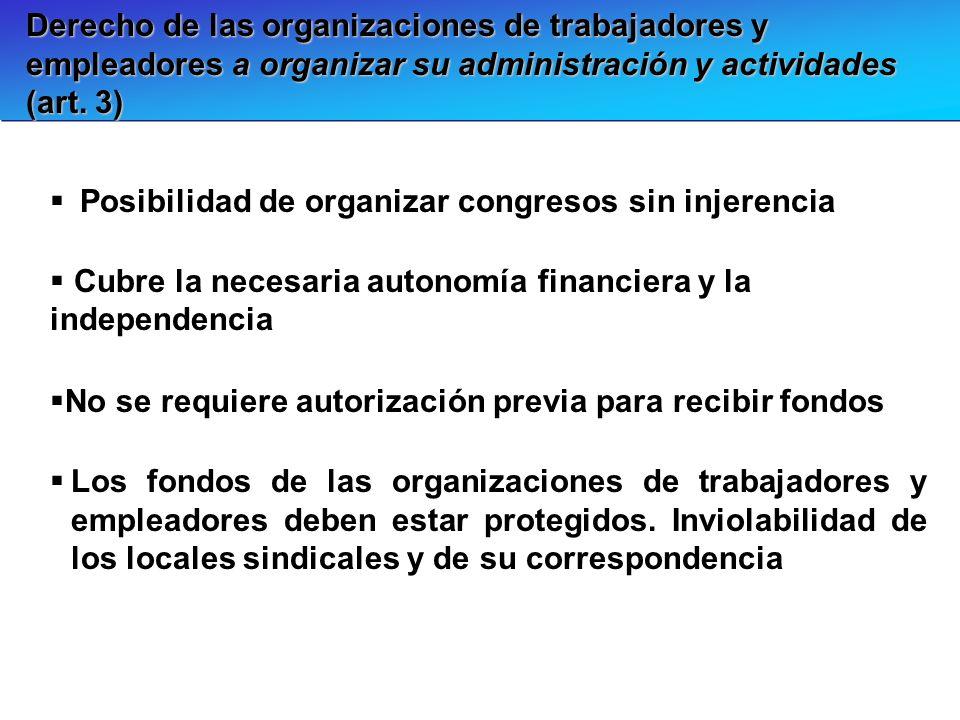 Derecho de las organizaciones de trabajadores y empleadores a organizar su administración y actividades (art. 3)