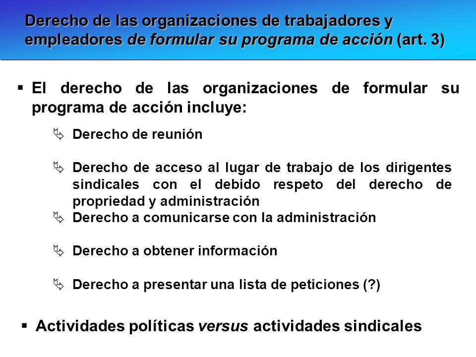 Actividades políticas versus actividades sindicales