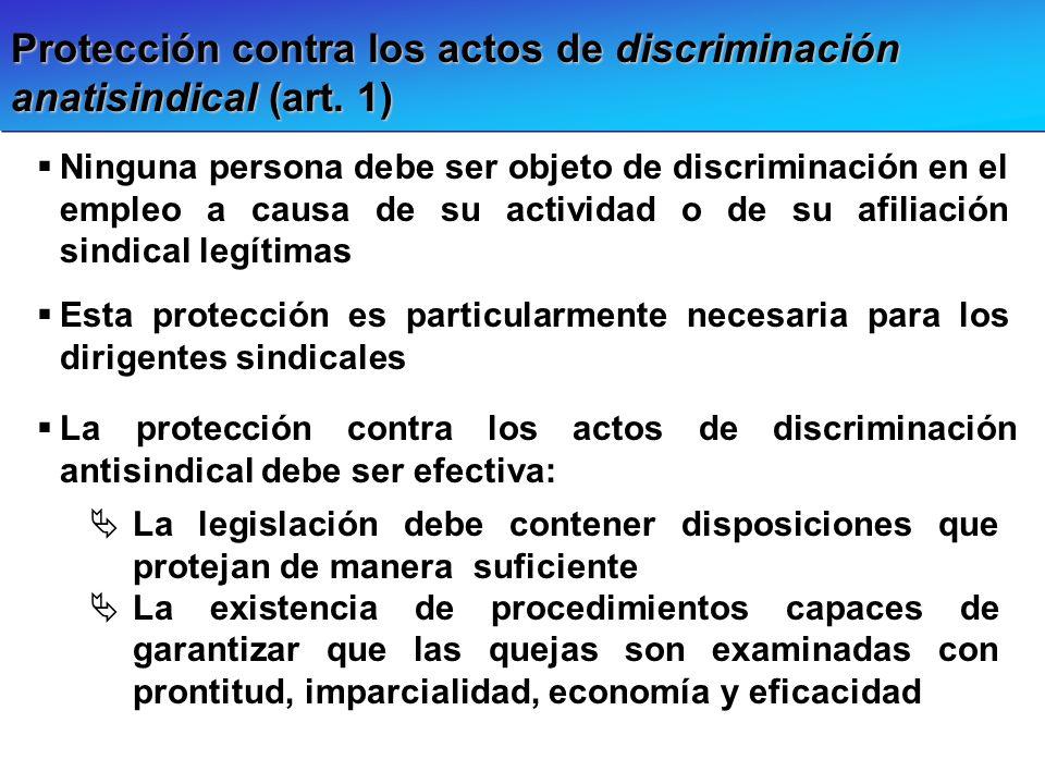 Protección contra los actos de discriminación anatisindical (art. 1)
