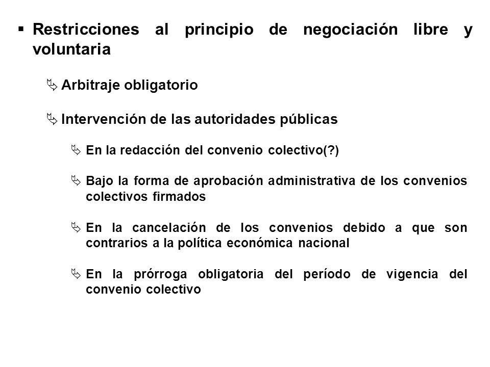 Restricciones al principio de negociación libre y voluntaria
