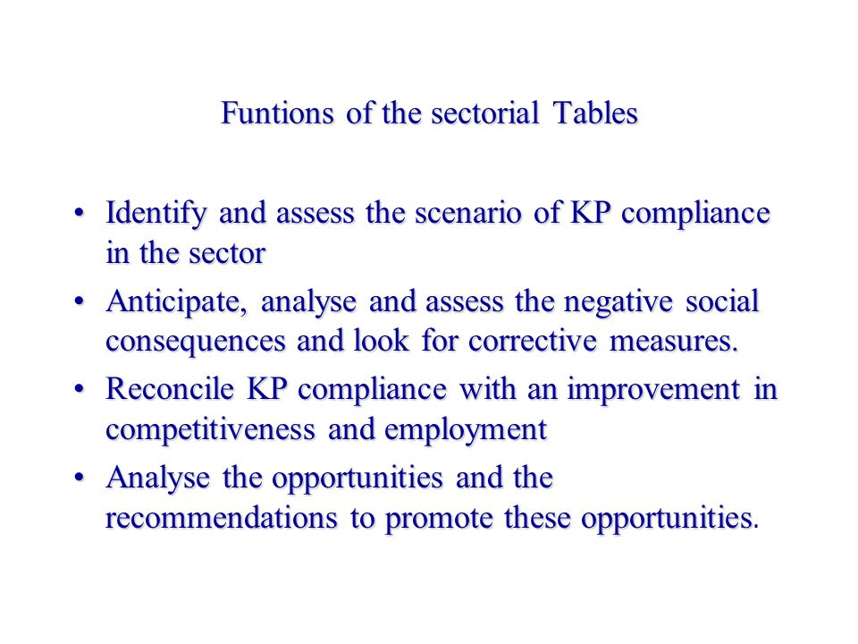 Funtions of the sectorial Tables