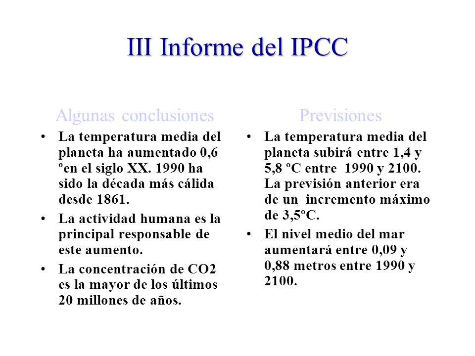 III Informe del IPCC Algunas conclusiones Previsiones
