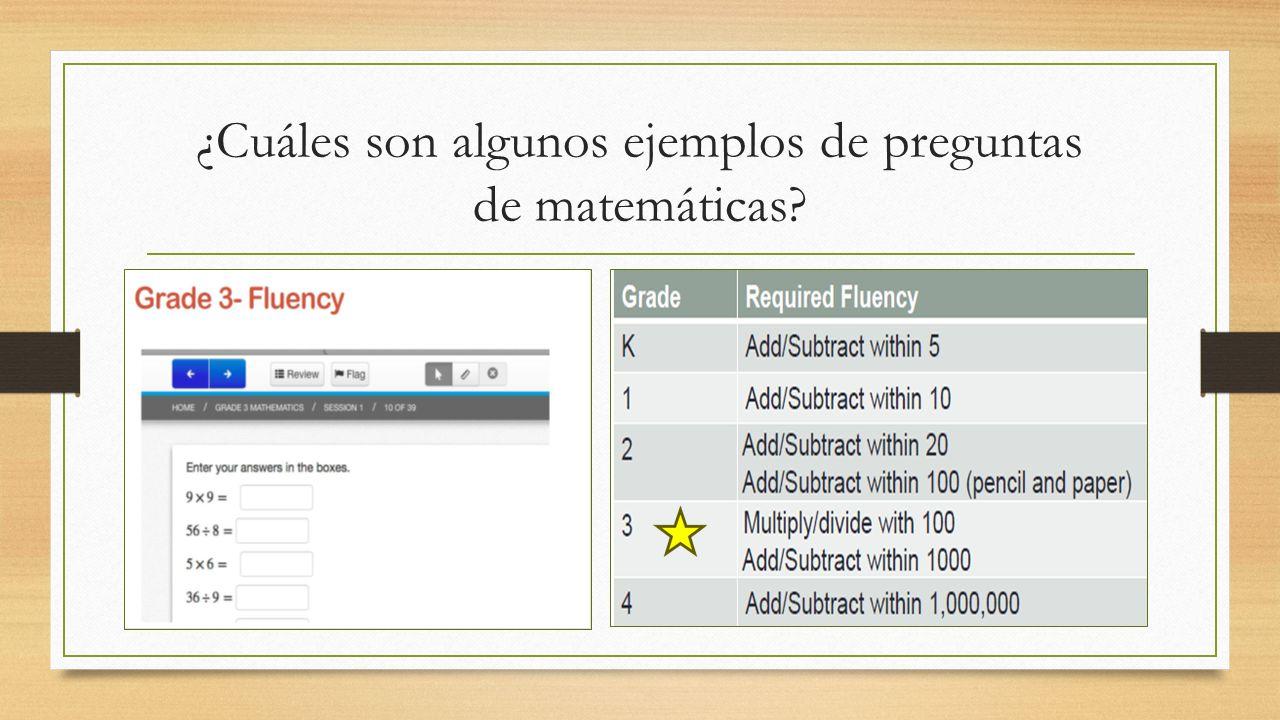 ¿Cuáles son algunos ejemplos de preguntas de matemáticas