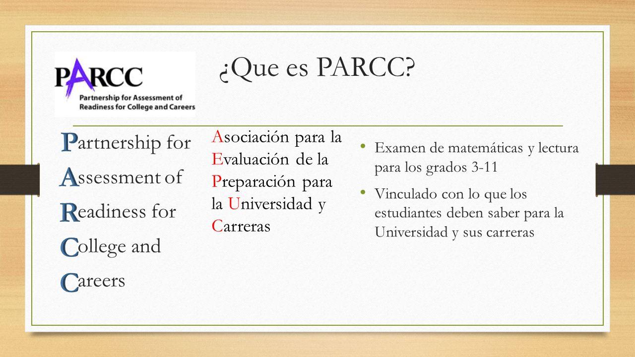 ¿Que es PARCC P. A. R. C. Asociación para la. Evaluación de la. Preparación para. la Universidad y.