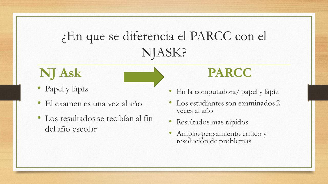 ¿En que se diferencia el PARCC con el NJASK
