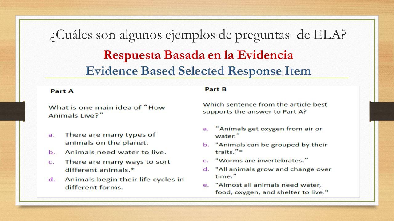 ¿Cuáles son algunos ejemplos de preguntas de ELA