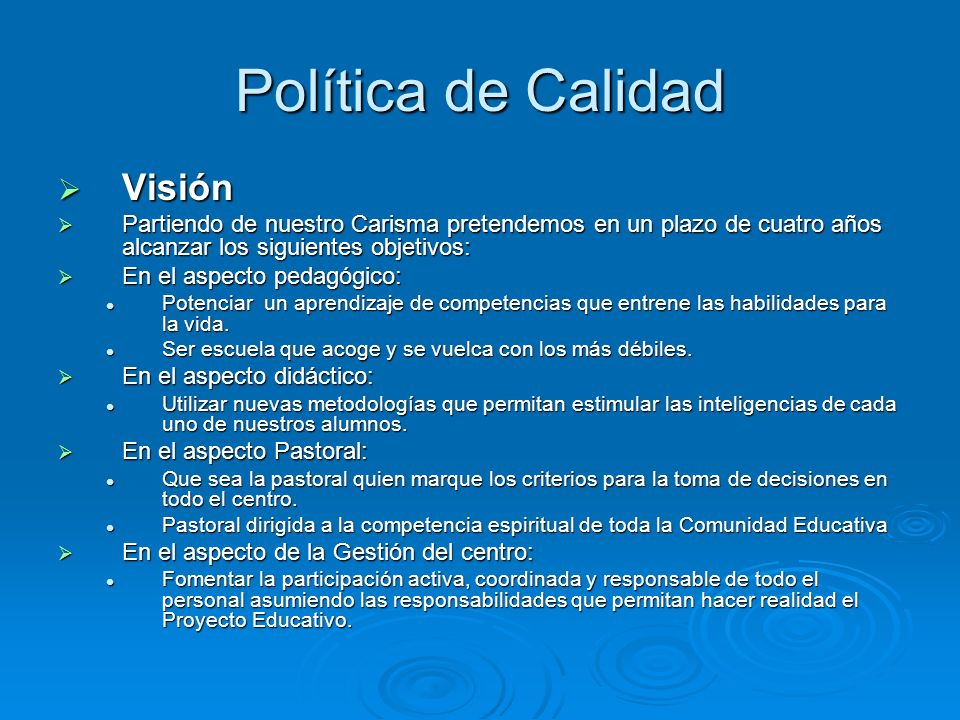Política de Calidad Visión