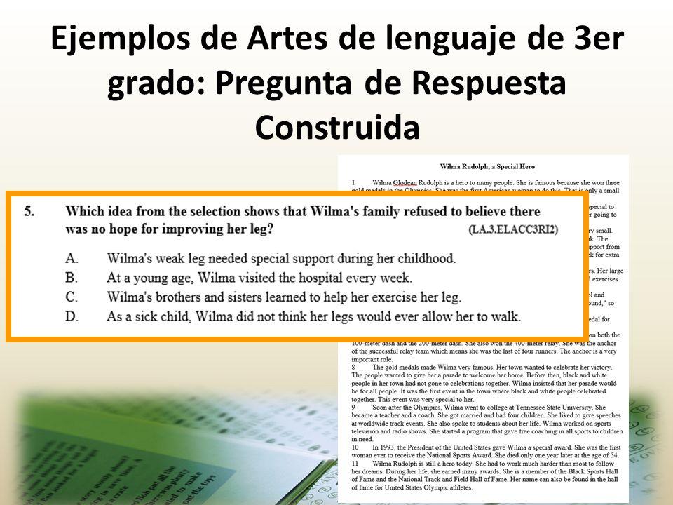 Ejemplos de Artes de lenguaje de 3er grado: Pregunta de Respuesta Construida