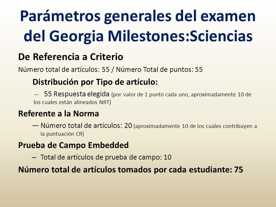 Parámetros generales del examen del Georgia Milestones:Sciencias