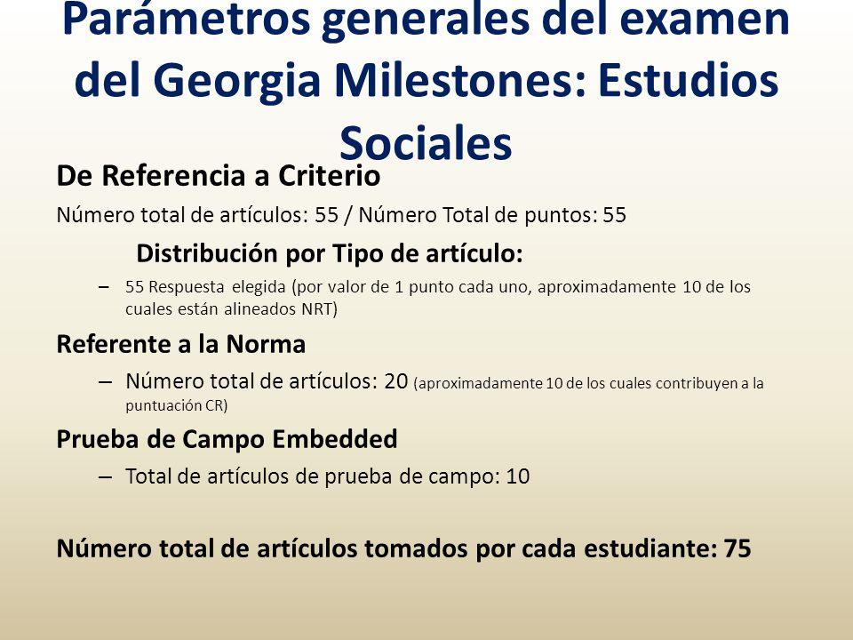 Parámetros generales del examen del Georgia Milestones: Estudios Sociales