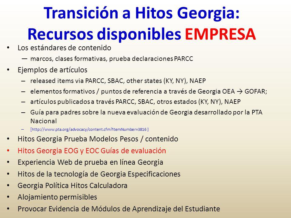 Transición a Hitos Georgia: Recursos disponibles EMPRESA