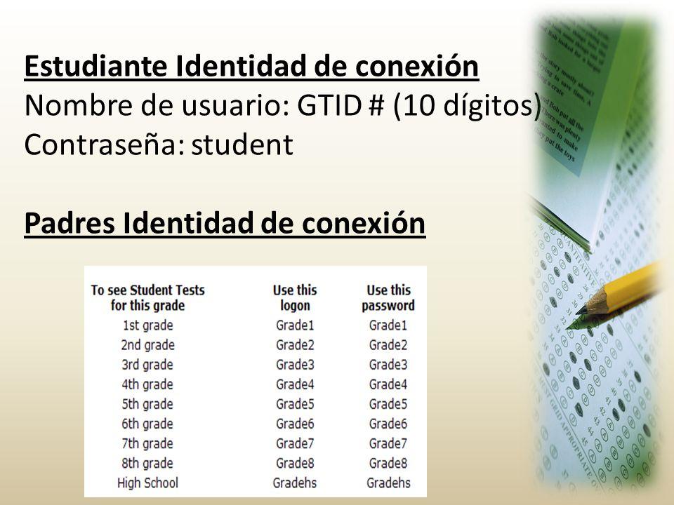 Estudiante Identidad de conexión Nombre de usuario: GTID # (10 dígitos) Contraseña: student Padres Identidad de conexión
