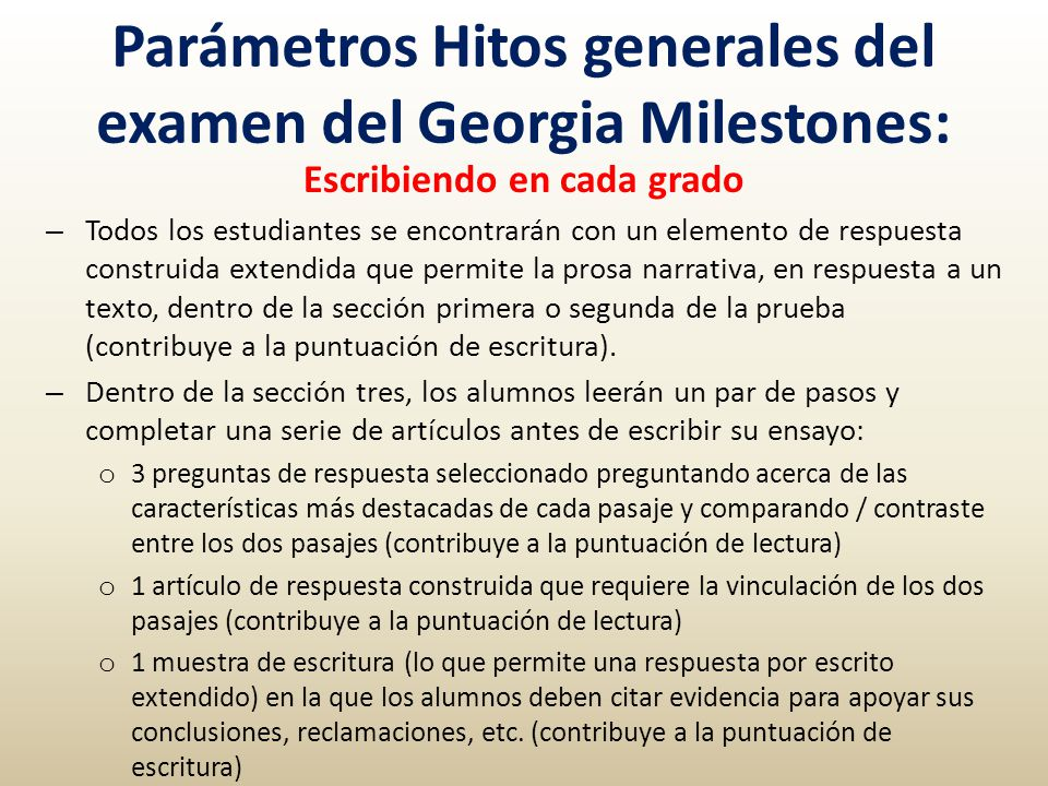 Parámetros Hitos generales del examen del Georgia Milestones: