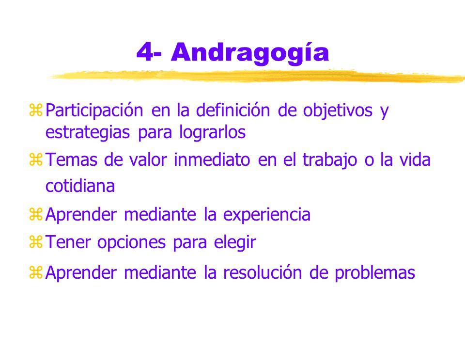4- Andragogía Participación en la definición de objetivos y estrategias para lograrlos. Temas de valor inmediato en el trabajo o la vida cotidiana.