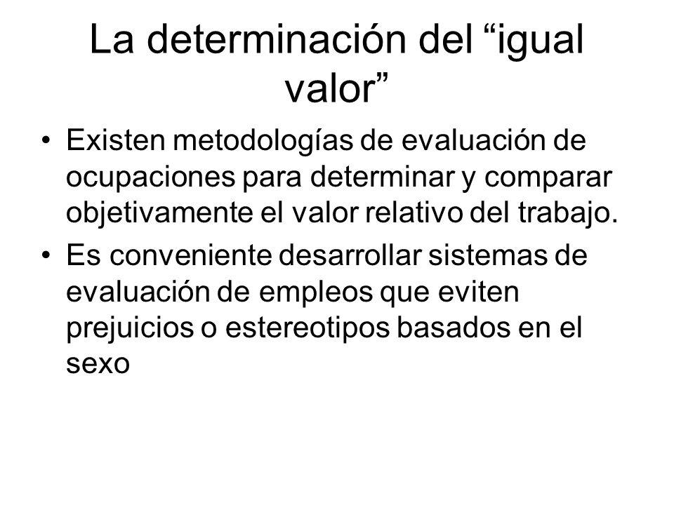 La determinación del igual valor