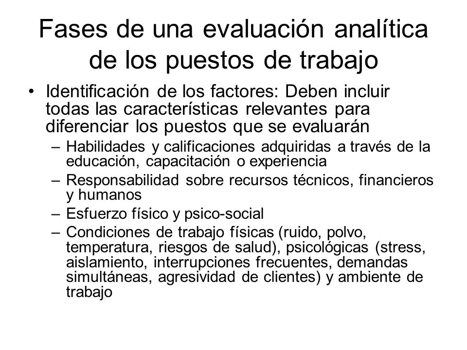 Fases de una evaluación analítica de los puestos de trabajo