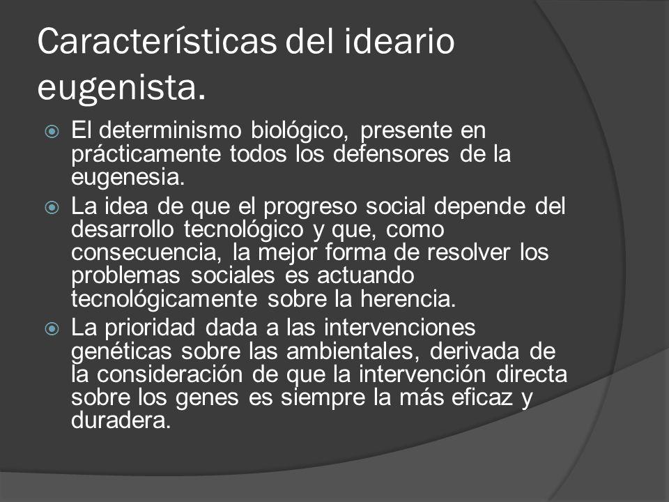 Características del ideario eugenista.