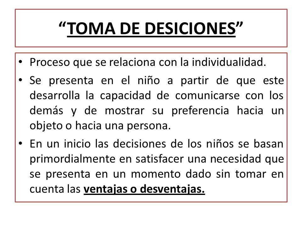 TOMA DE DESICIONES Proceso que se relaciona con la individualidad.