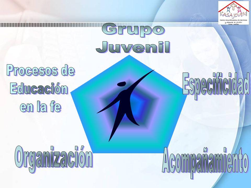 Grupo Juvenil Procesos de Educación en la fe Especificidad Organización Acompañamiento