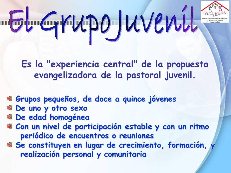 El Grupo Juvenil Es la experiencia central de la propuesta evangelizadora de la pastoral juvenil.