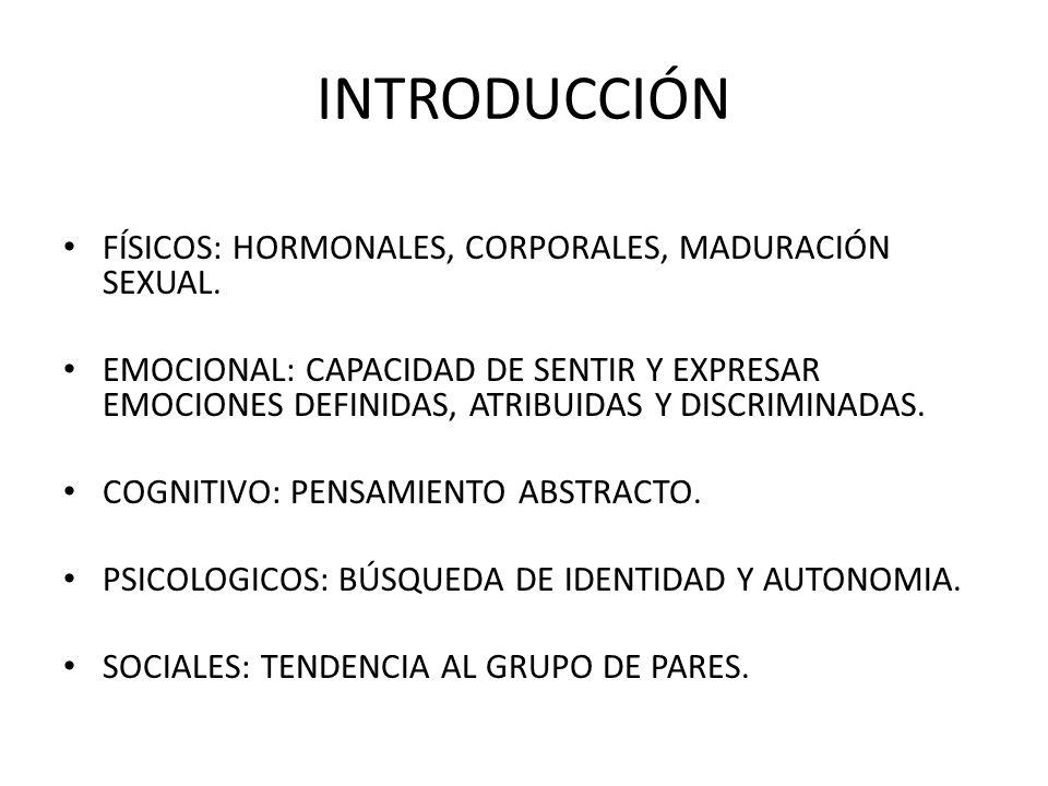 INTRODUCCIÓN FÍSICOS: HORMONALES, CORPORALES, MADURACIÓN SEXUAL.